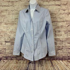 Express The Essential Shirt Blue Striped Shirt